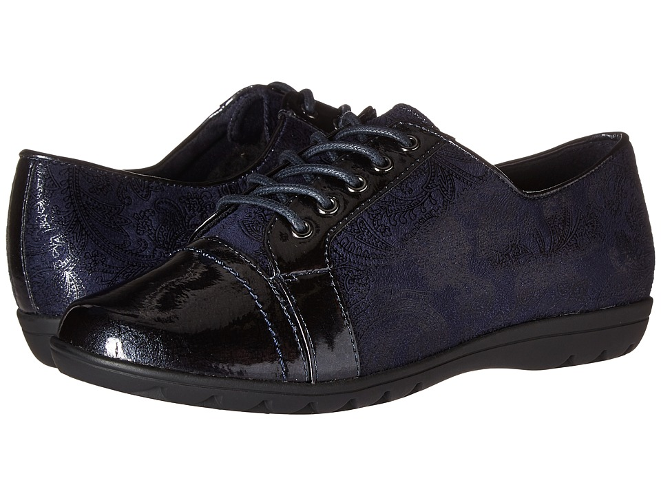 Soft Style Valda (Navy Paisley Faux Suede/Navy Pearlized Patent) Women