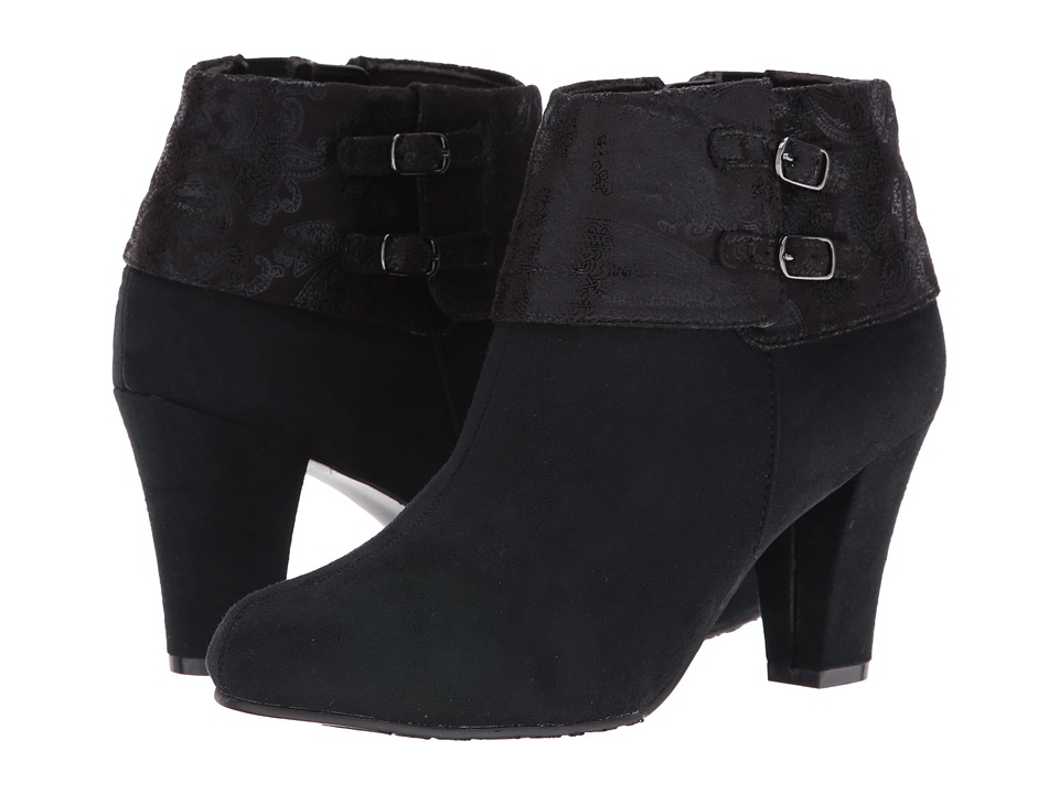 Soft Style - Creel (Black Faux Suede/Black Paisley Faux Suede) Women's Pull-on Boots