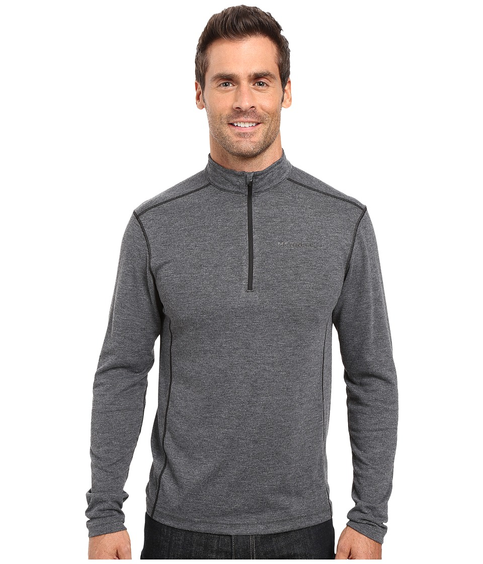 Merrell - Geom 1/2 Zip Tech Tee (Black Heather) Men's Long Sleeve Pullover