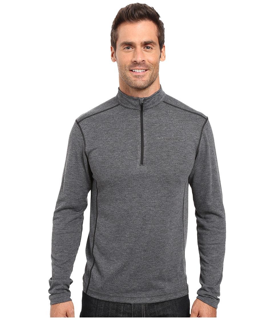 Merrell - Geom 1/2 Zip Tech Tee (Black Heather) Men's Long Sleeve Pullover