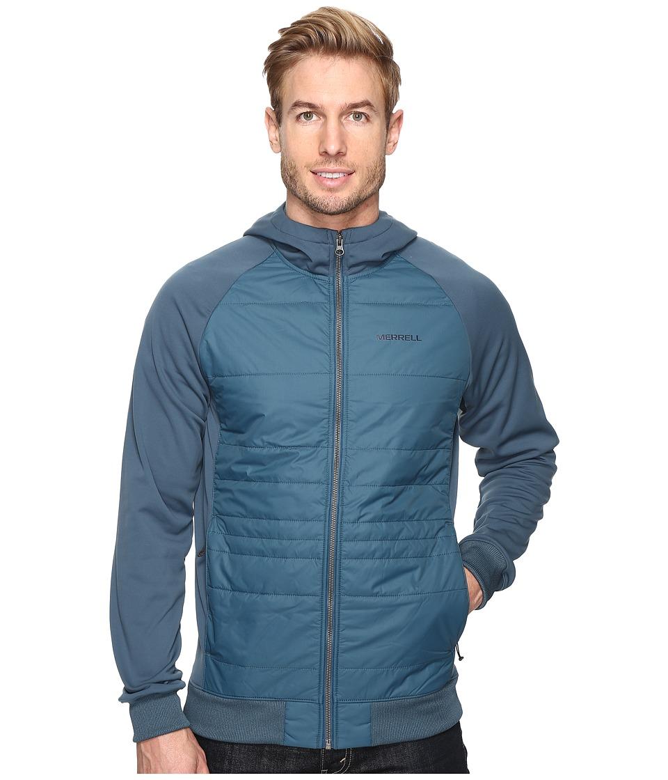 Merrell - Murren Hybrid Hoodie (Blue Spruce) Men's Long Sleeve Pullover