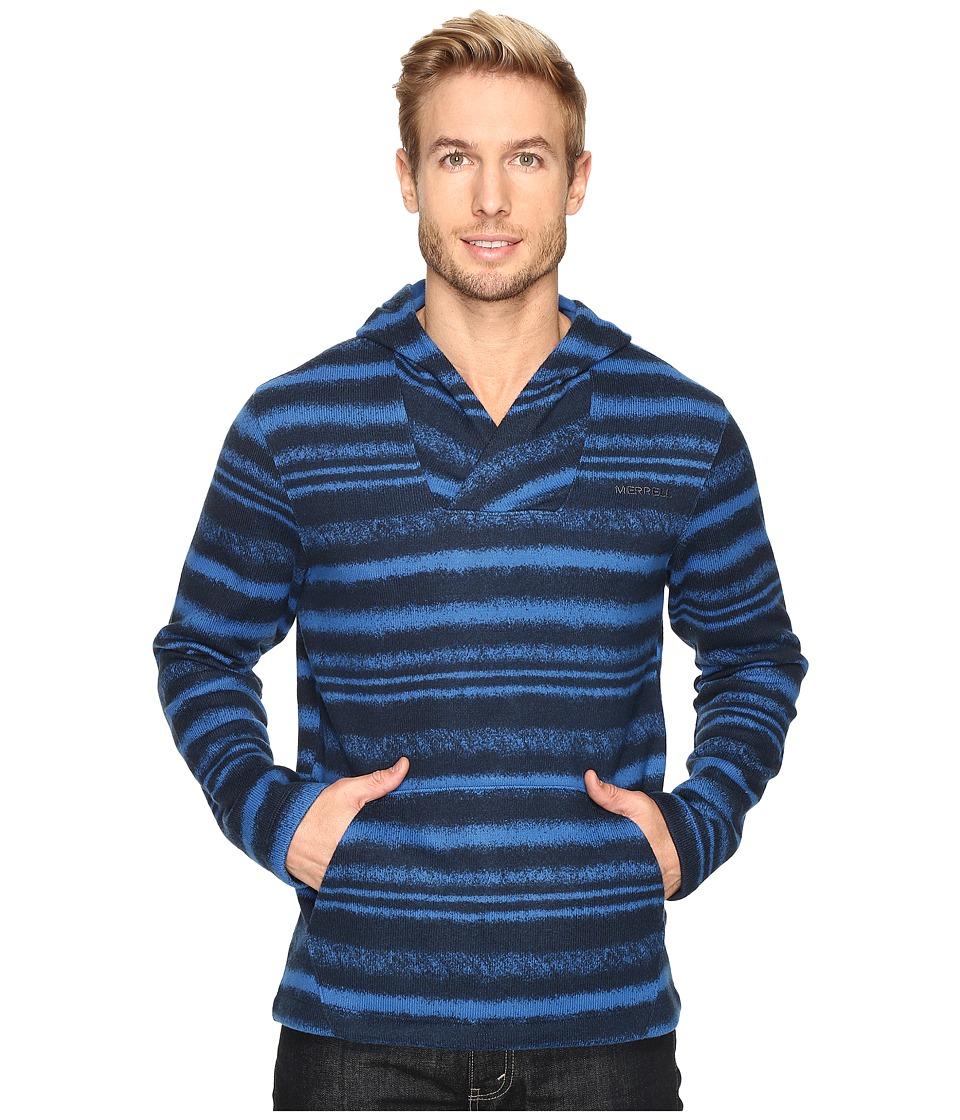 Merrell - Skyway Hoodie Print Fleece (Snorkel Blue Print) Men's Long Sleeve Pullover