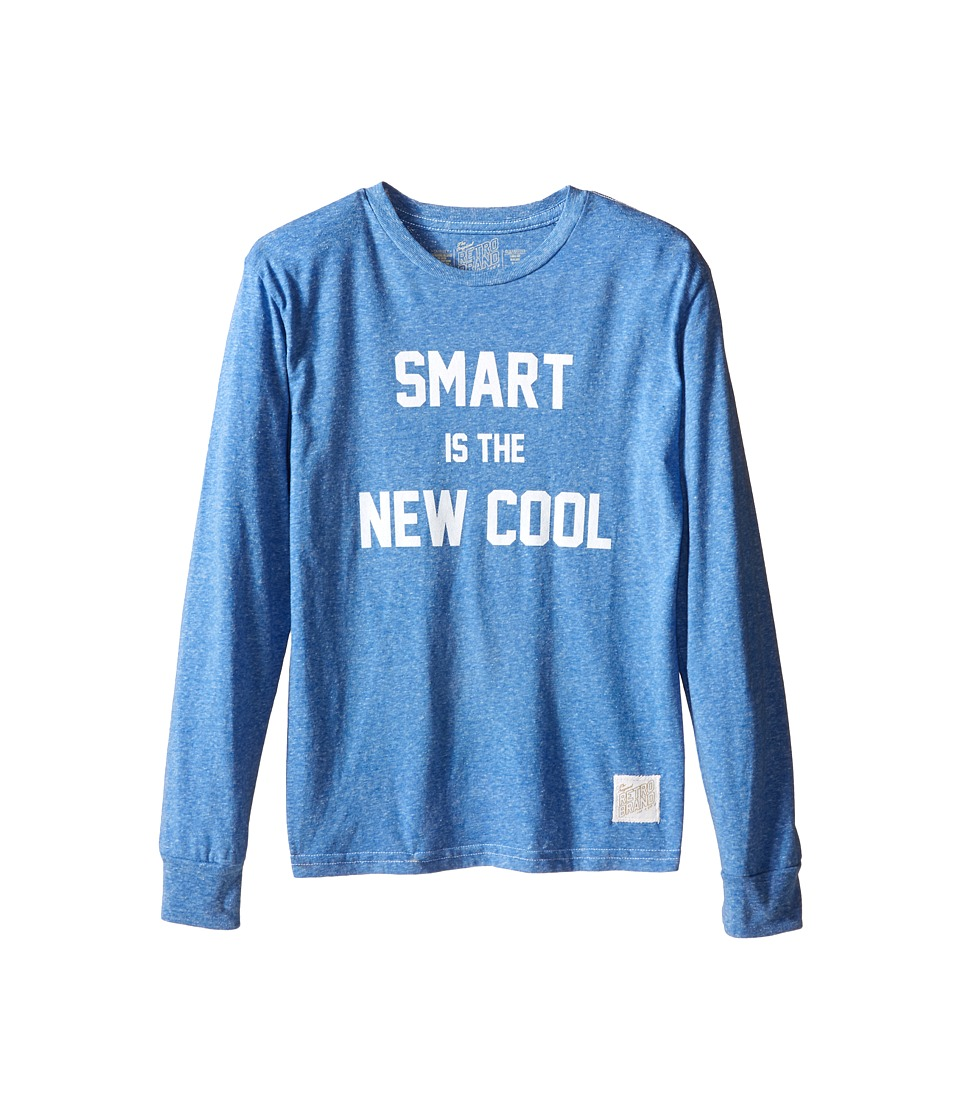 The Original Retro Brand Kids - Smart Is The New Cool Long Sleeve Tri-Blend Tee (Big Kids) (Streaky Royal) Boy's Long Sleeve Pullover