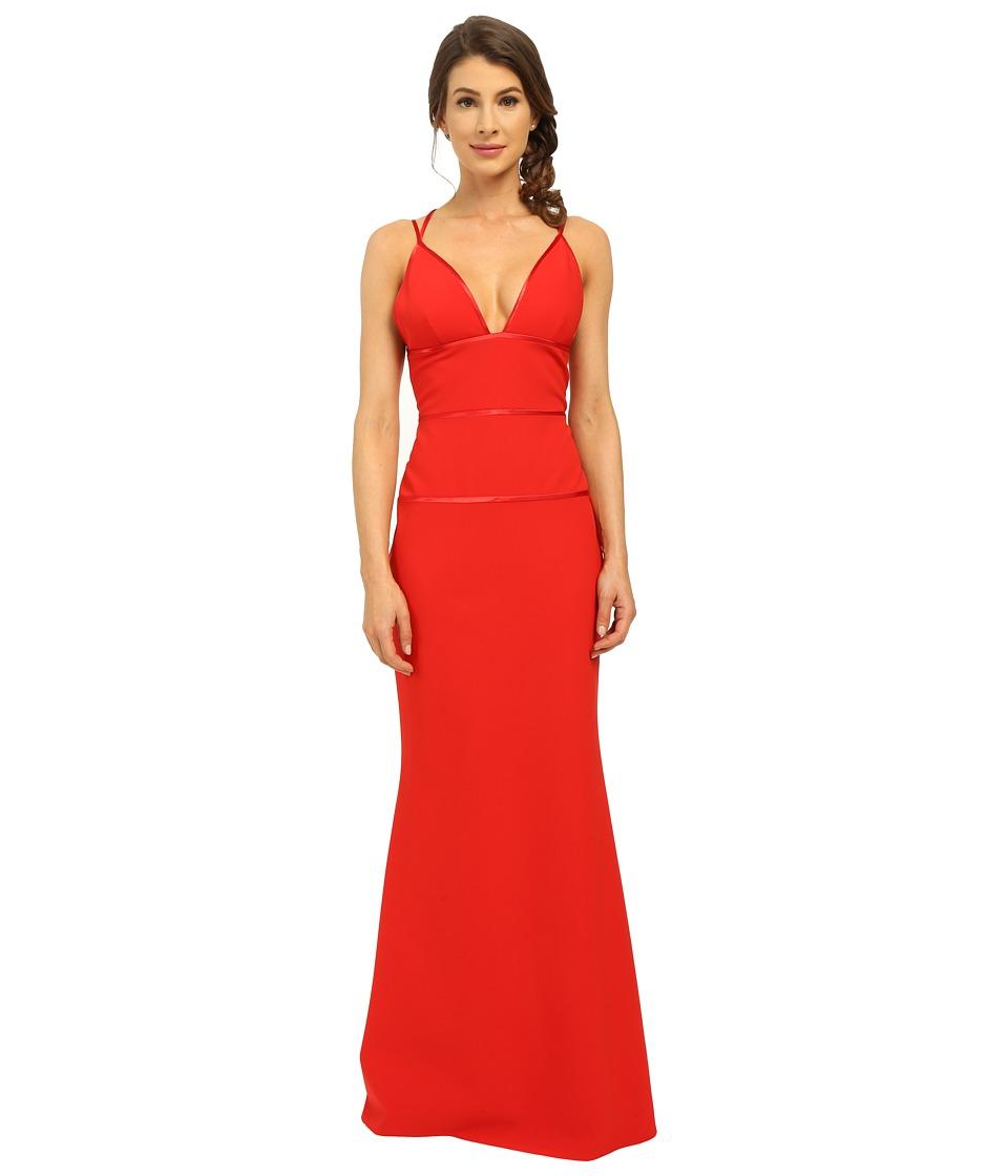 JILL JILL STUART Deep-V Spagetti Straps Fitted Elastane Gown (Poppy) Women