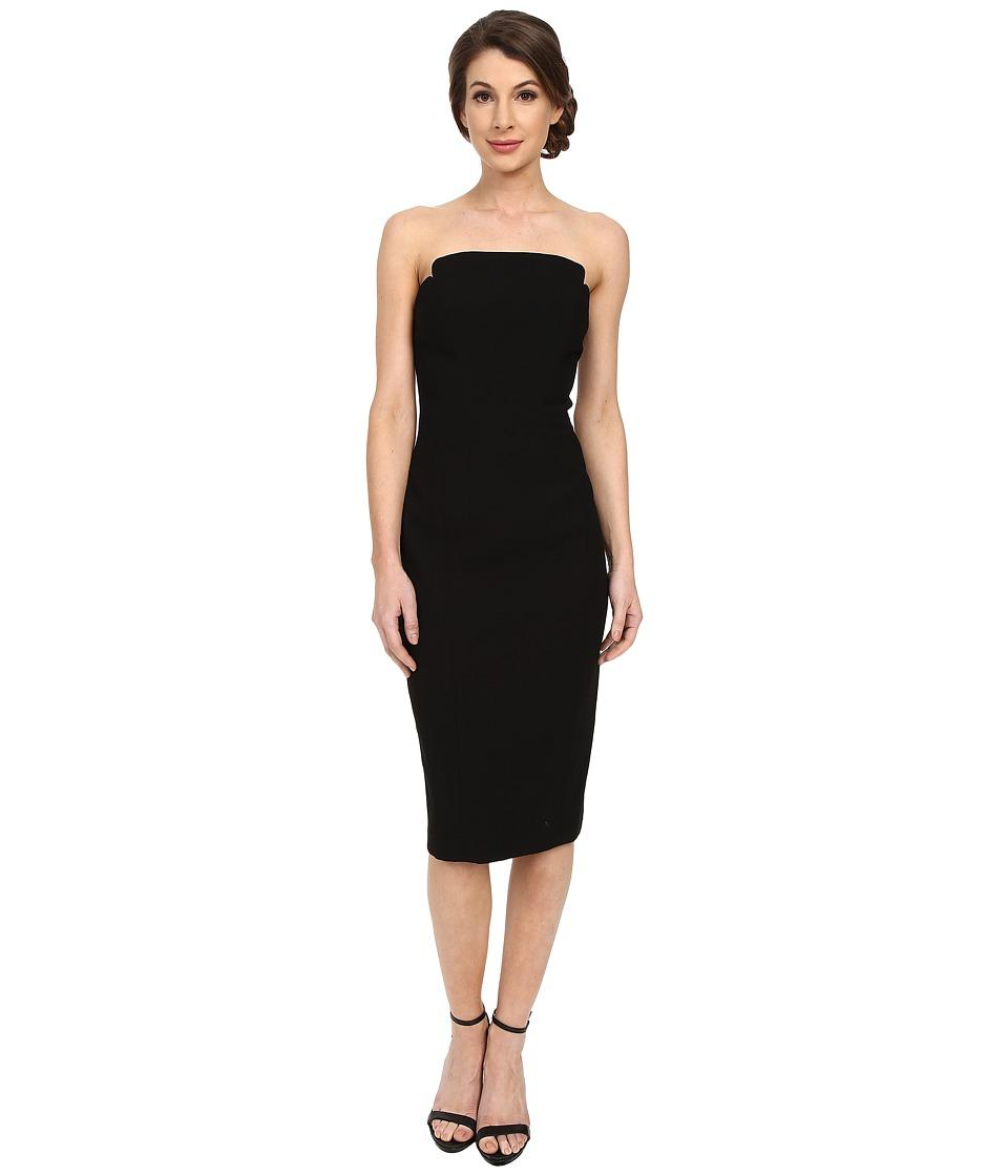 JILL JILL STUART - Strapless Knee Length Fitted Crepy Dress (Black) Women's Dress