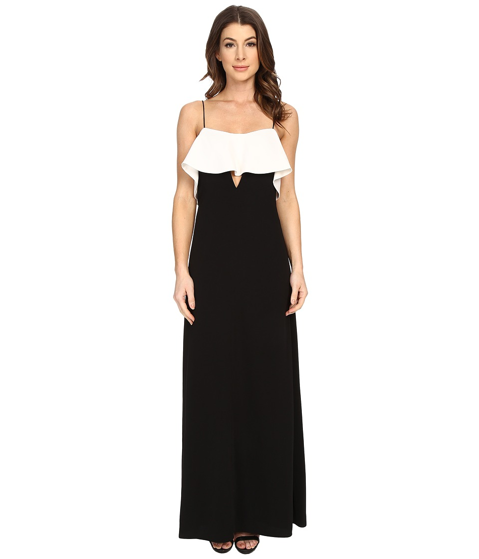 JILL JILL STUART - Spagetti Strapped Front Ruffled with Peekaboo Front Cut Out Gown (Black/Off-White) Women's Dress