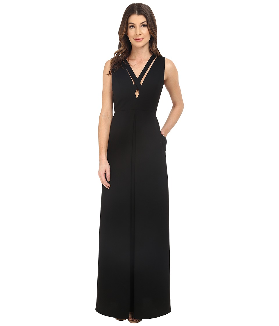 JILL JILL STUART - Deep-V Crisscross Front and Back Gown (Black) Women's Dress