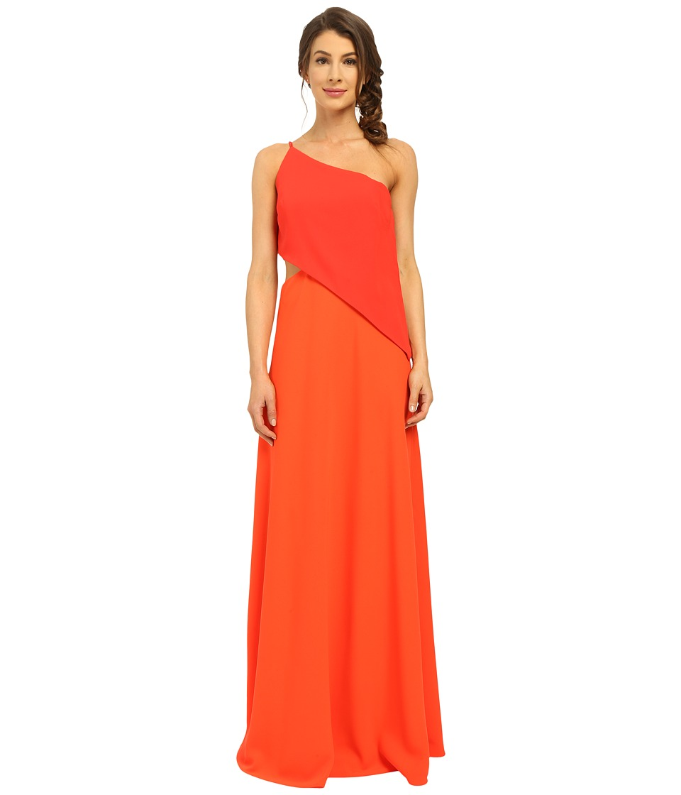 JILL JILL STUART - One Shoulder Popover Gown with Side Cutout (Poppy/Tangerine) Women's Dress
