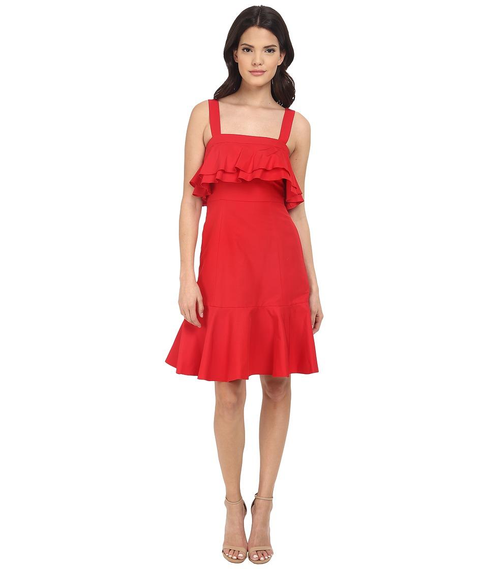 JILL JILL STUART Spagetti Strapped Ruffled Front Silk/Cotton Faille Short Dress (Poppy) Women