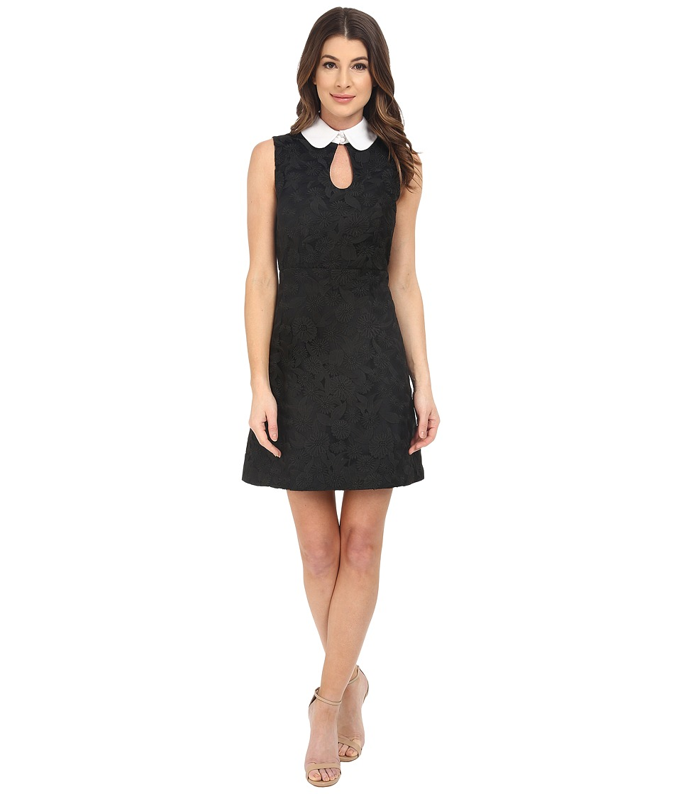 JILL JILL STUART - Sleeveless Collard Front Ke-Hole Short Dress (Black Floral Embroidery) Women's Dress
