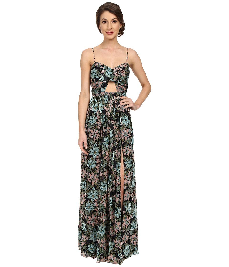 JILL JILL STUART - Sleeveless Cut Out Printed Chiffon Dress (Midnight/Multi) Women's Dress