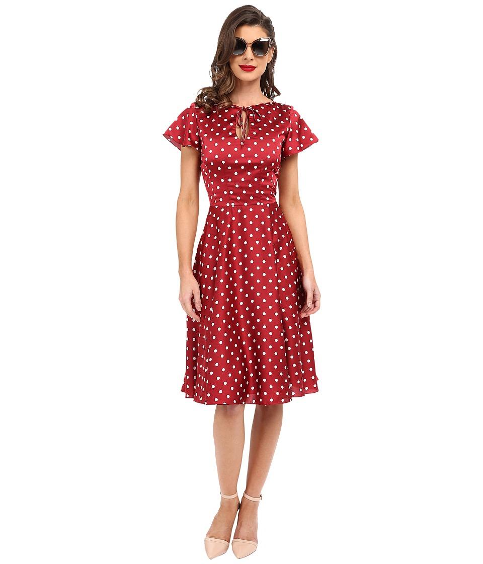 Unique Vintage Formosa Flutter Sleeved Dress (Red Dot) Women