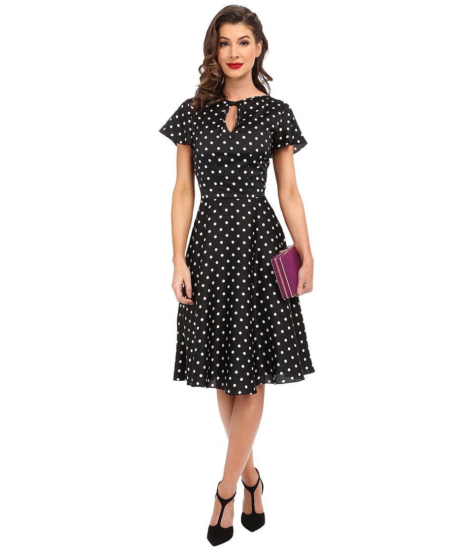 Unique Vintage - Formosa Flutter Sleeved Dress (Black Dot) Women's Dress