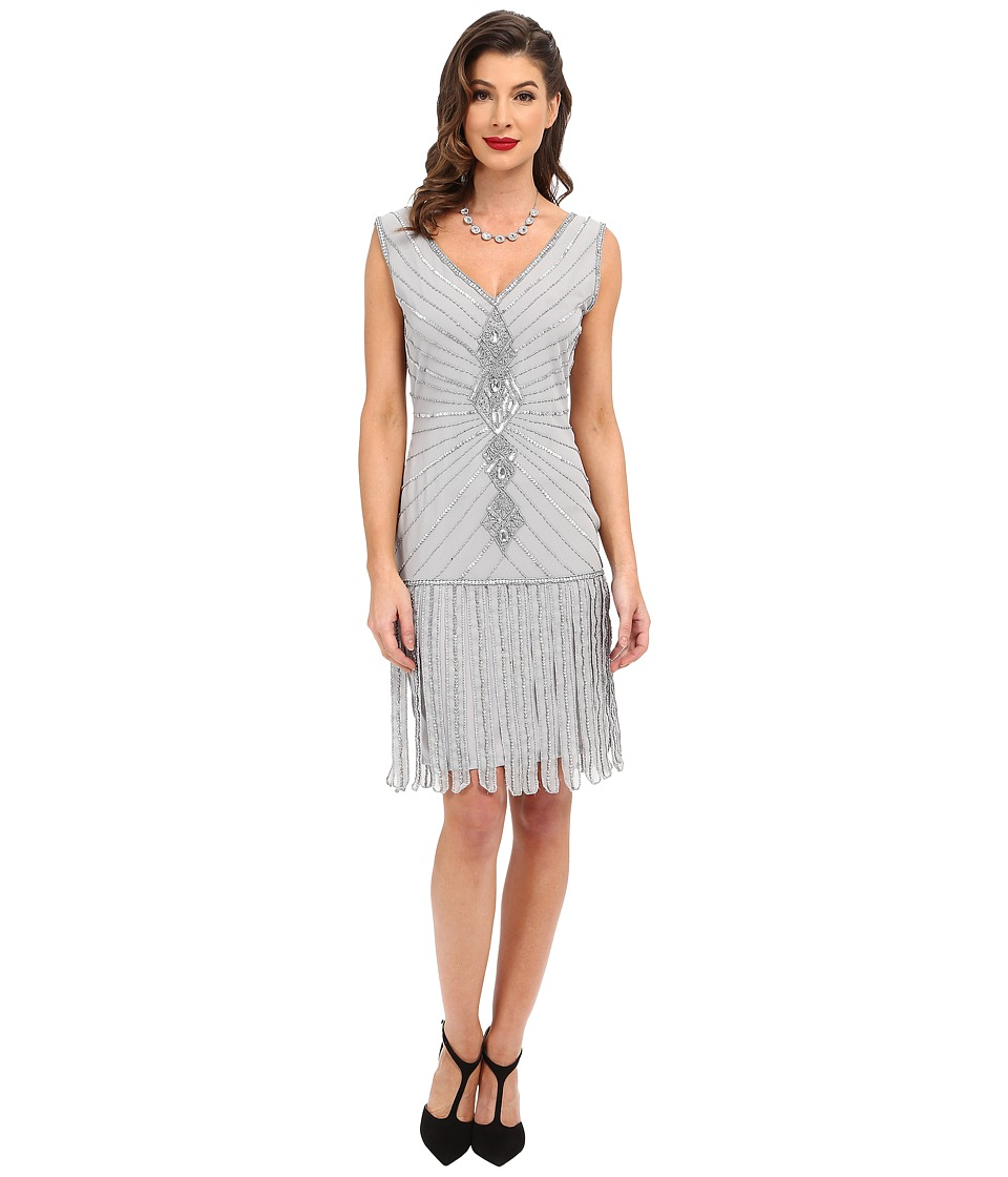 Unique Vintage Hand Beaded Aelita Flapper Dress (Silver) Women