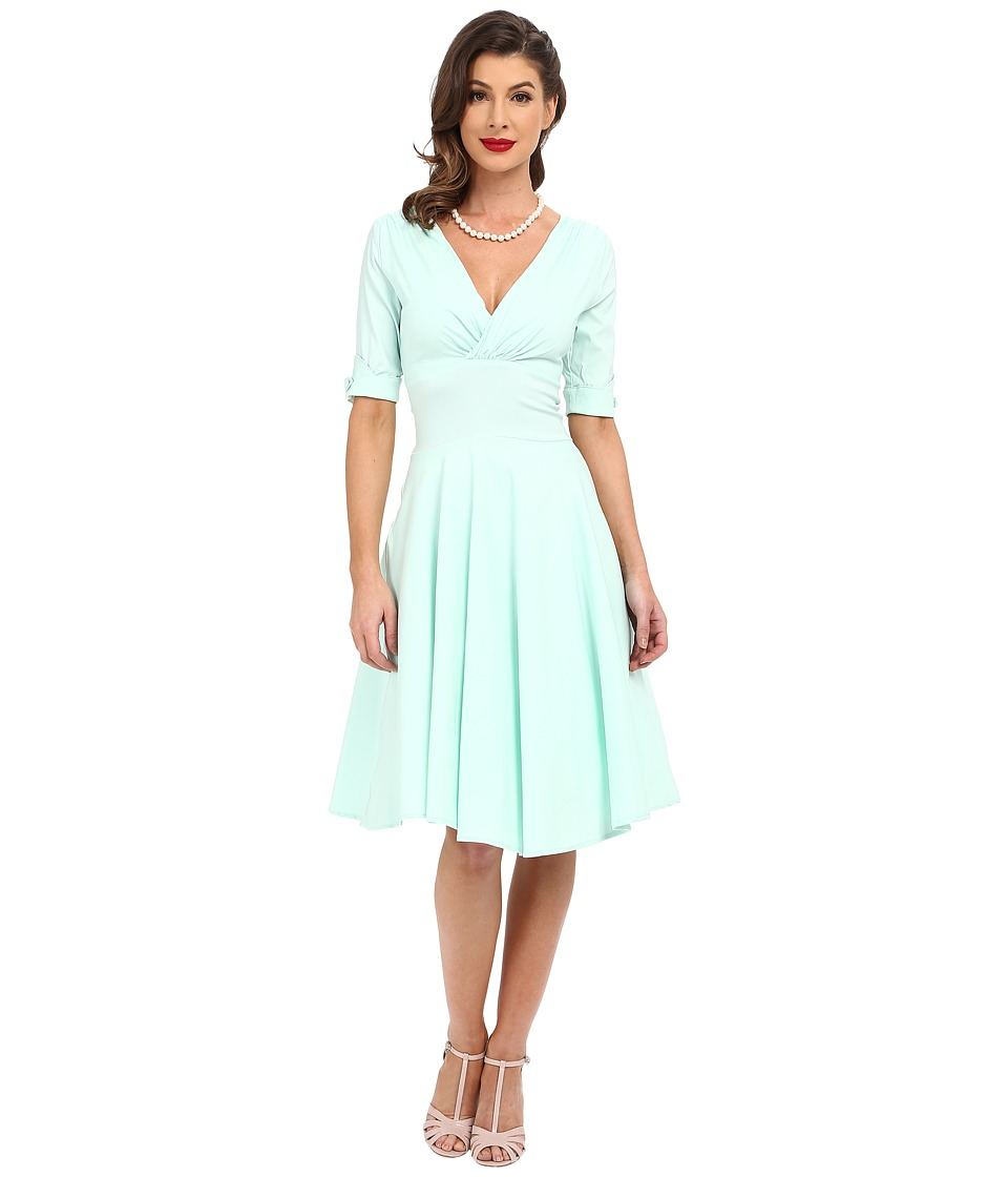Unique Vintage 3/4 Sleeve Delores Swing Dress (Mint) Women