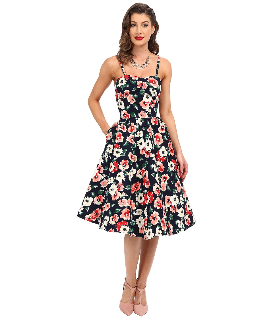 Unique Vintage - Darcy Fit Flare Sweetheart Dress (Navy Floral) Women's Dress
