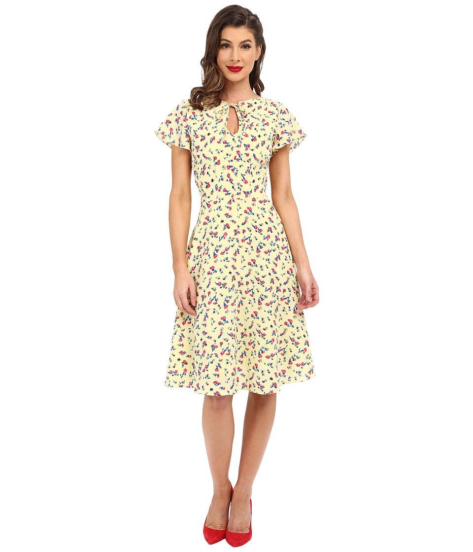 Unique Vintage - Formosa Flutter Sleeved Dress (Yellow Floral) Women's Dress