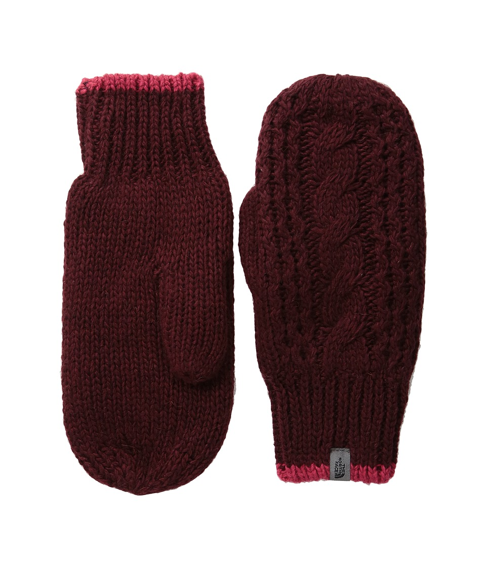 The North Face Cable Knit Mitt (Deep Garnet Red/Cerise Pink (Prior Season)) Extreme Cold Weather Gloves