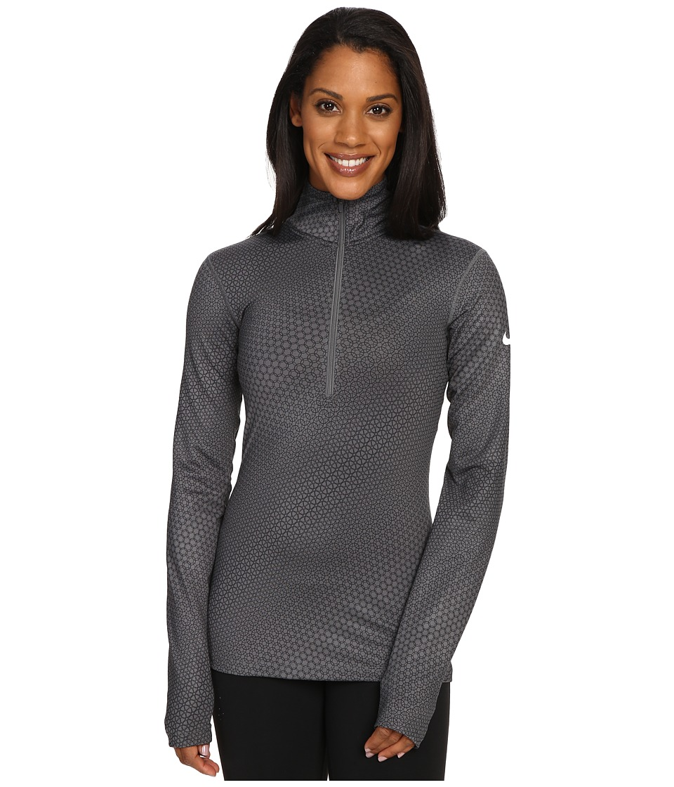 Nike - Pro Warm Top Long Sleeve 1/2 Zip Circledrome (Dark/Grey White) Women's Long Sleeve Pullover