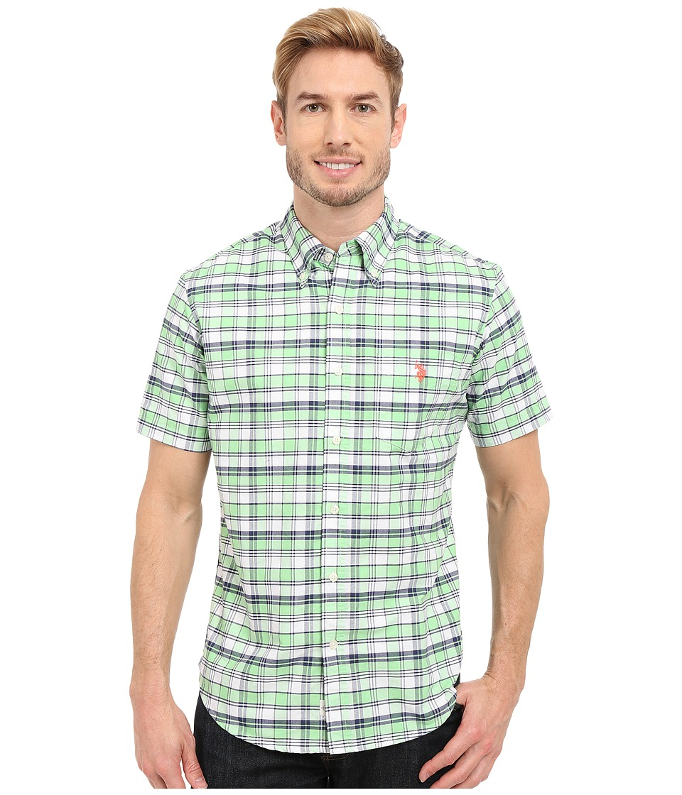 U.S. POLO ASSN. - Short Sleeve Slim Fit Plaid Pin Point Oxford Sport Shirt (Green Madras) Men's Short Sleeve Button Up
