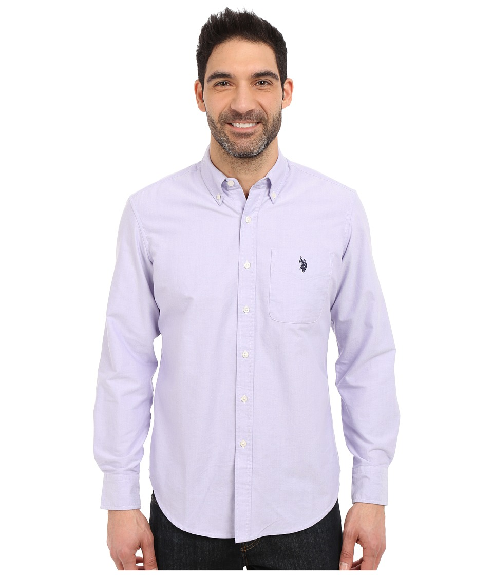 U.S. POLO ASSN. - Long Sleeve Solid Oxford Shirt (Paisley Purple) Men's Long Sleeve Button Up