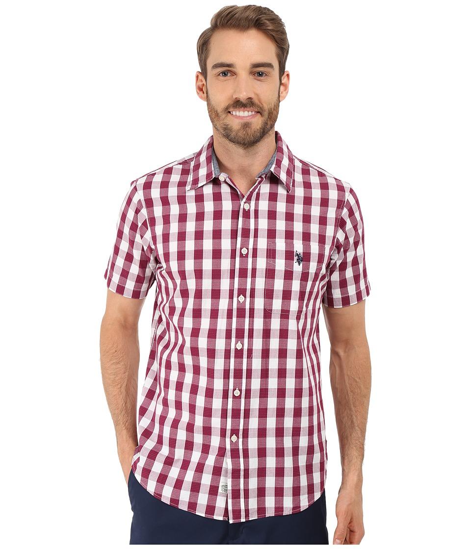 U s polo assn poplin w dobby stitch plaid sport shirt for Button up collared sport shirts