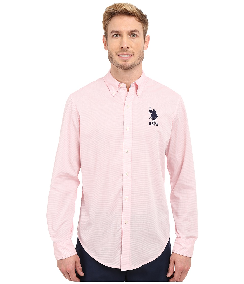 U.S. POLO ASSN. - Slim Fit Striped Oxford Button Down Shirt (Pink Coral) Men's Long Sleeve Button Up