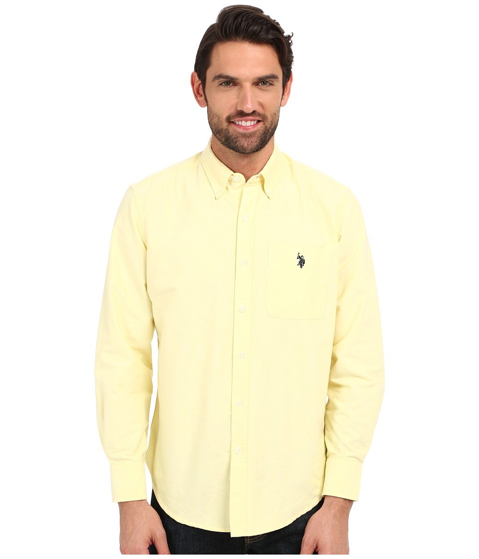 U.S. POLO ASSN. - Long Sleeve Solid Oxford Shirt (Mid Day Yellow) Men