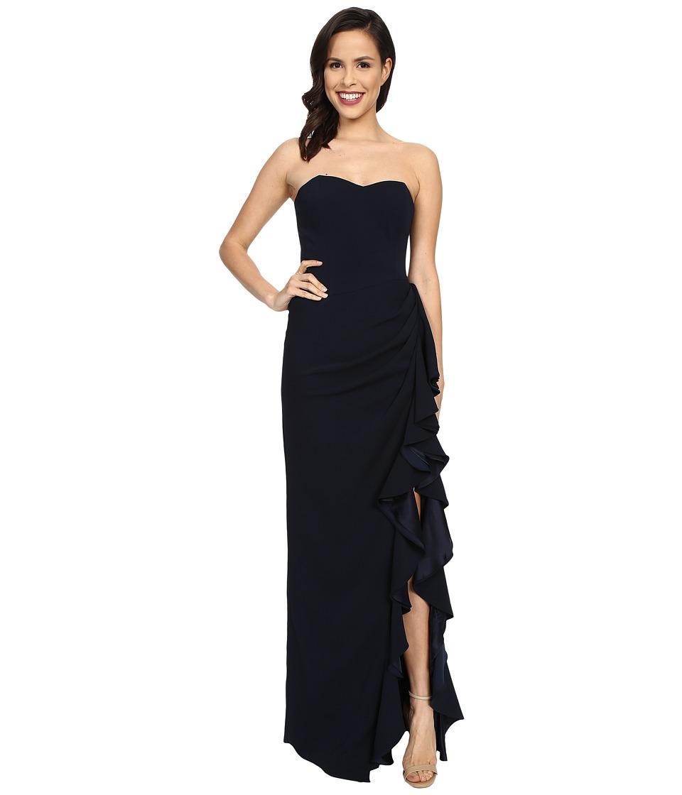Badgley Mischka Side Slit Ruffle Dress (Navy) Women