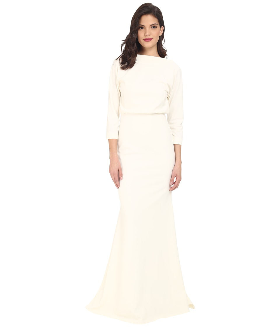 Badgley Mischka - 3/4 Sleeve Micro Rib Dress (Ivory) Women's Dress
