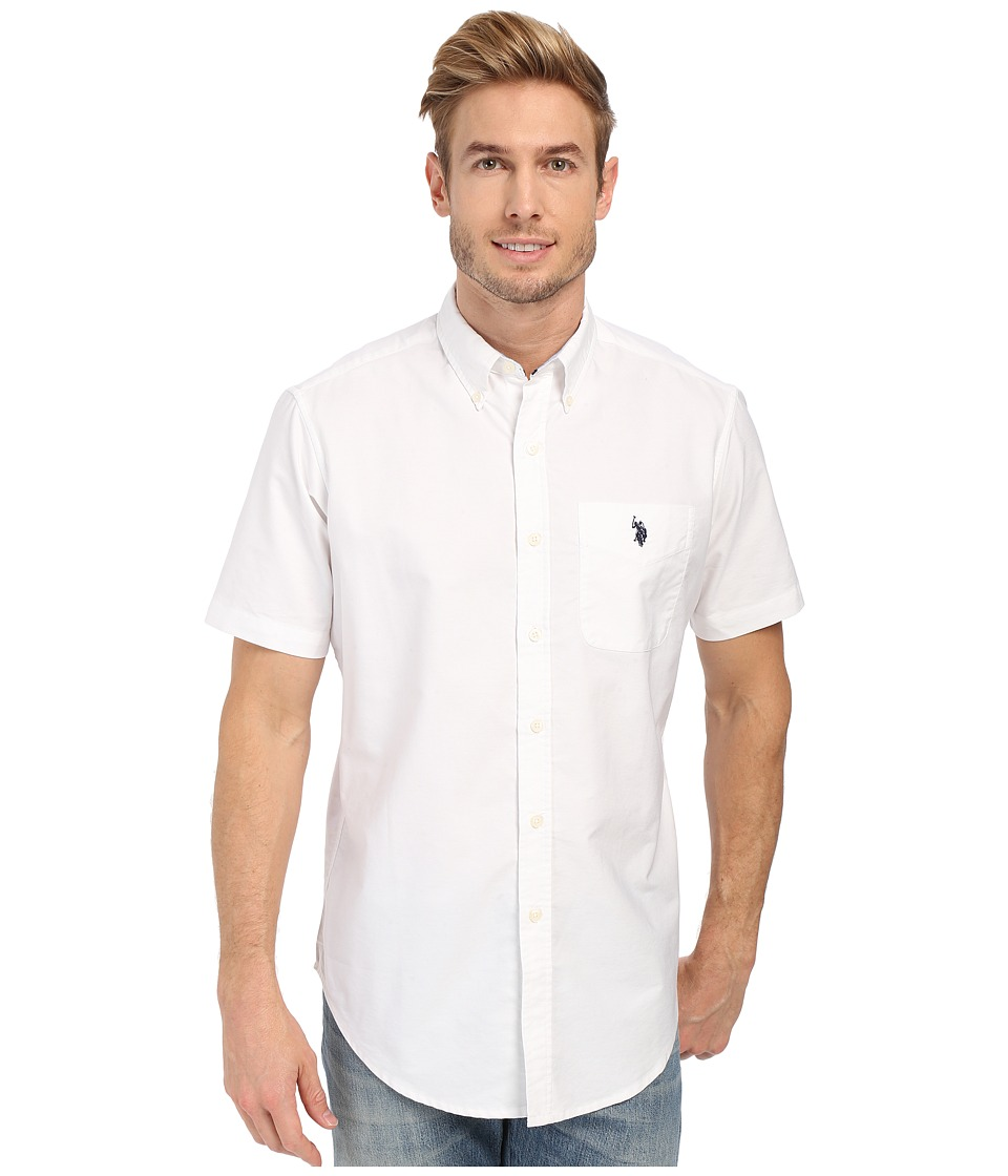 U.S. POLO ASSN. - Short Sleeve Button Down Oxford Shirt (Optic White) Men's Short Sleeve Button Up