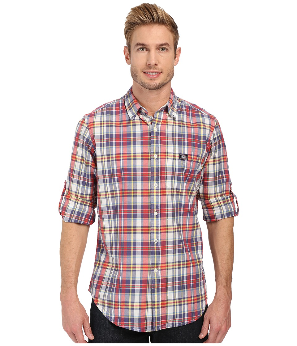U.S. POLO ASSN. - Long Sleeve Classic Fir Madras Plaid Sport Shirt (Classic Navy) Men
