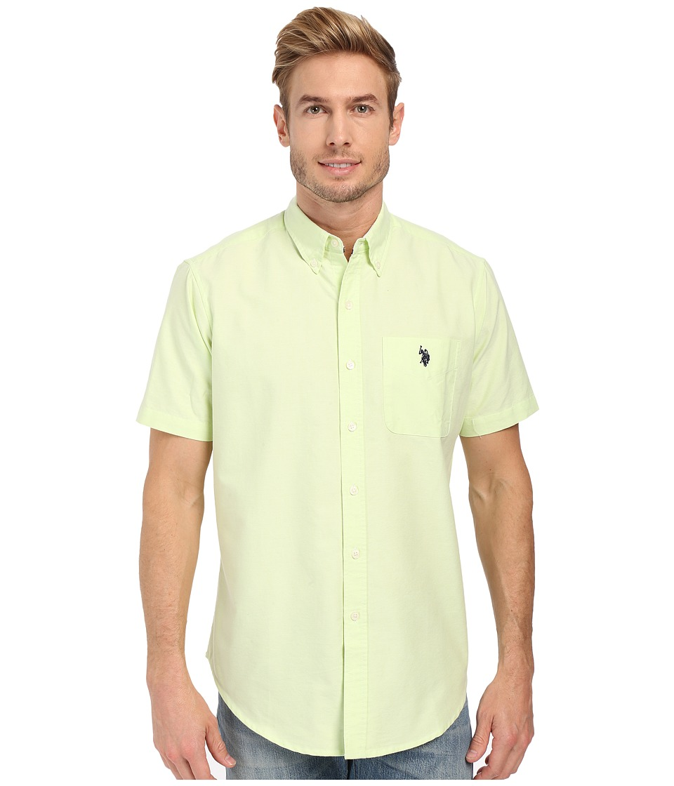 U.S. POLO ASSN. - Short Sleeve Button Down Oxford Shirt (Green Madras) Men's Short Sleeve Button Up
