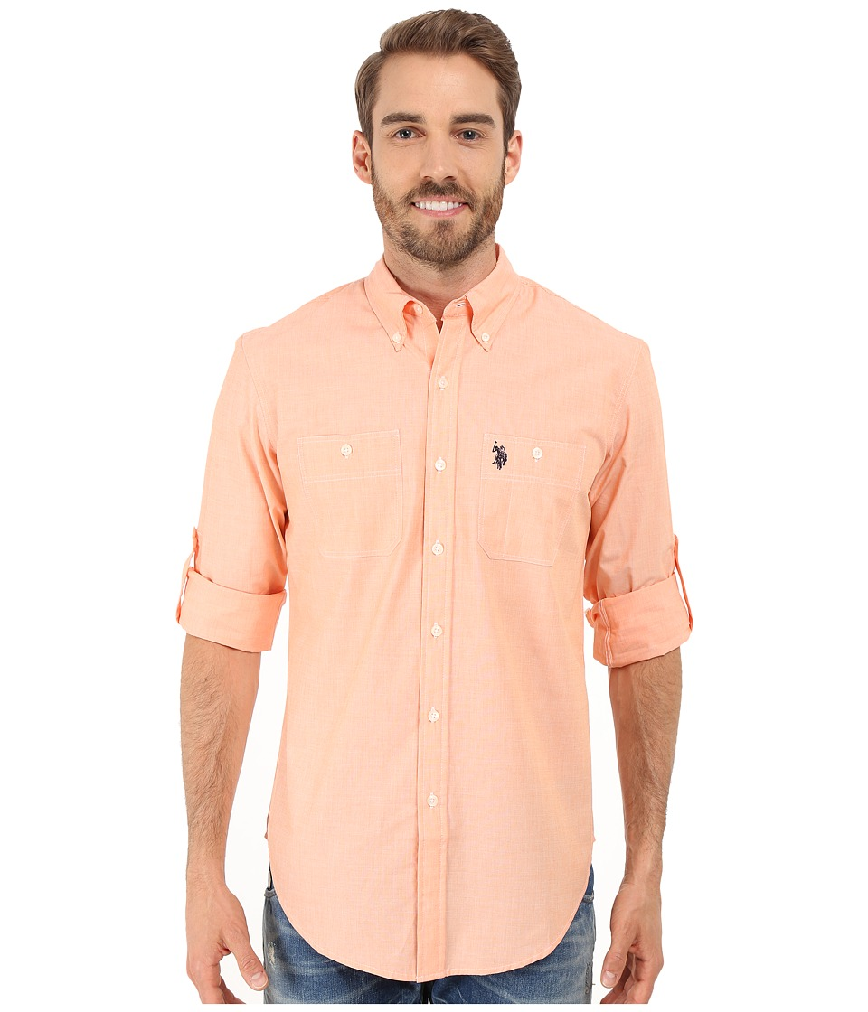 U.S. POLO ASSN. - Long Sleeve Slim Fit Button Down Sport Shirt (Summer School Orange) Men's Long Sleeve Button Up