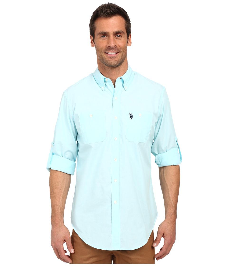 U.S. POLO ASSN. - Long Sleeve Slim Fit Button Down Sport Shirt (Aqua Light) Men's Long Sleeve Button Up