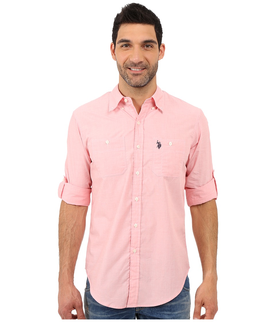 U.S. POLO ASSN. - Long Sleeve Slim Fit Button Down Sport Shirt (Pink Coral) Men's Long Sleeve Button Up