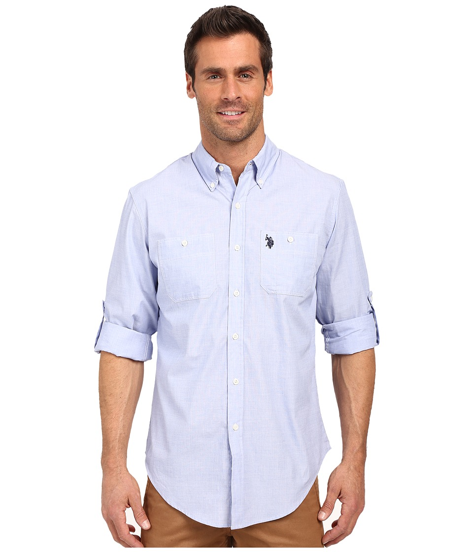 U.S. POLO ASSN. - Long Sleeve Slim Fit Button Down Sport Shirt (Wedding Blue) Men's Long Sleeve Button Up