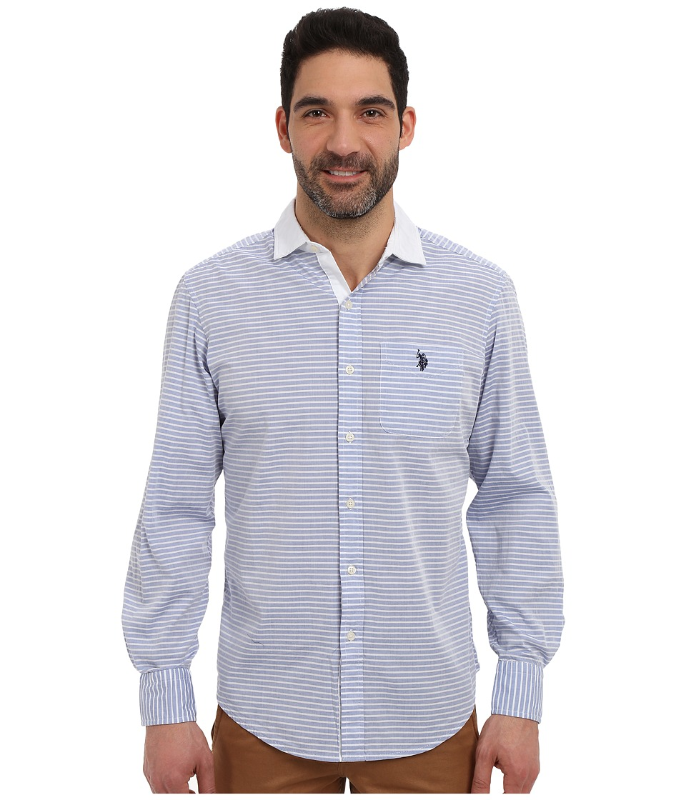 U.S. POLO ASSN. - Long Sleeve Classic Fit Horizontal Stripe Sport Shirt (Blue Tie) Men's Long Sleeve Button Up