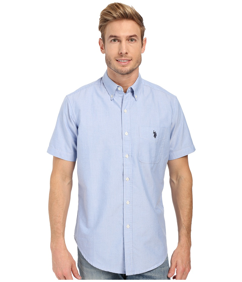 U.S. POLO ASSN. - Short Sleeve Button Down Oxford Shirt (Light Blue) Men's Short Sleeve Button Up