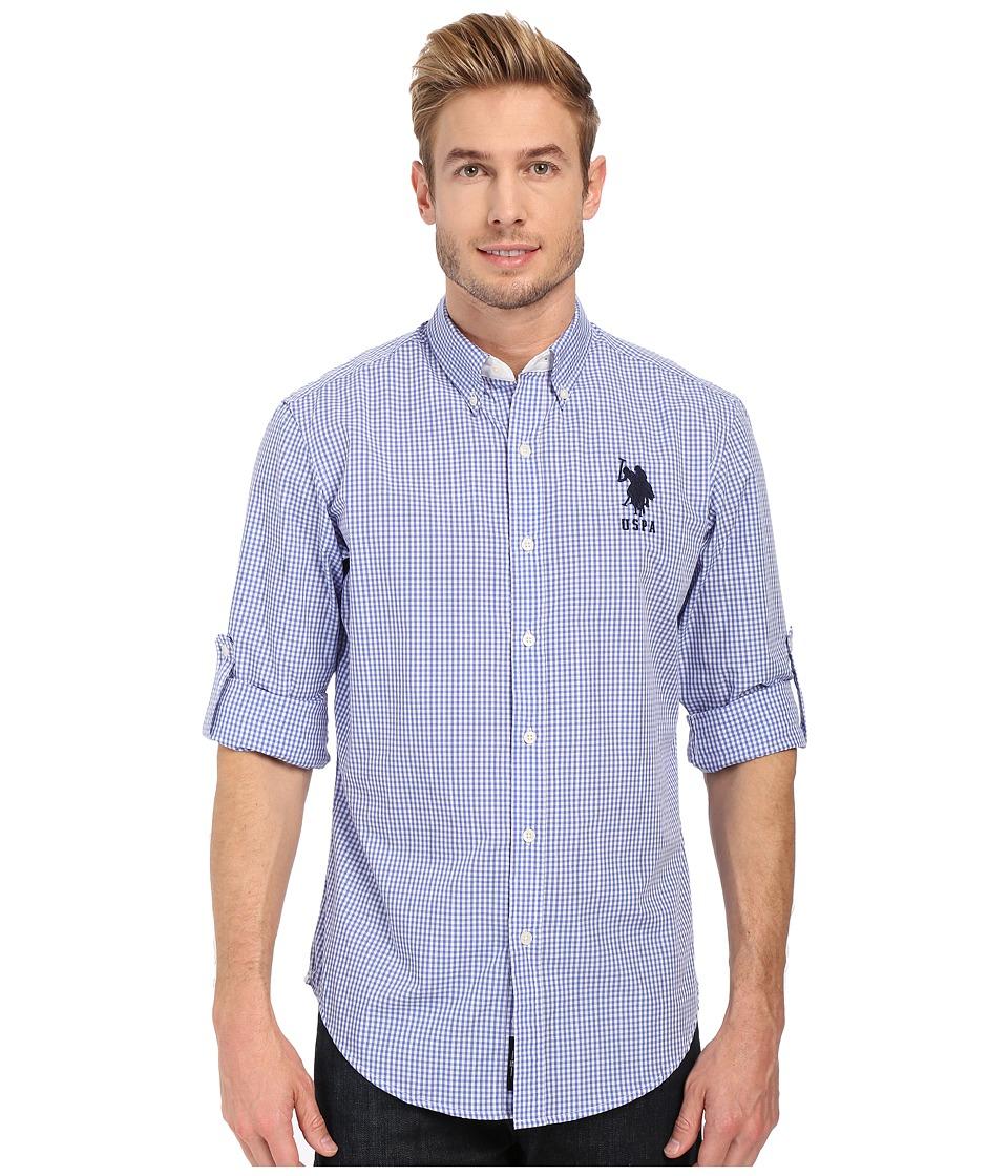 U.S. POLO ASSN. - Long Sleeve Gingham Plaid Sport Shirt (Wedding Blue) Men