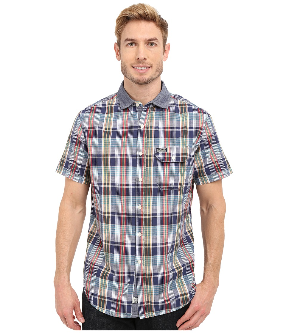 U.S. POLO ASSN. - Short Sleeve Plaid Poplin Spread Collar Sport Shirt (Dodger Blue) Men's Short Sleeve Button Up