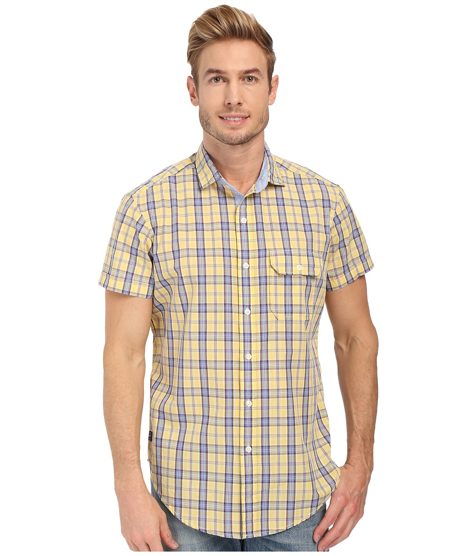 U.S. POLO ASSN. - Short Sleeve Spread Collar Plaid Sport Shirt (Lemon Frost) Men