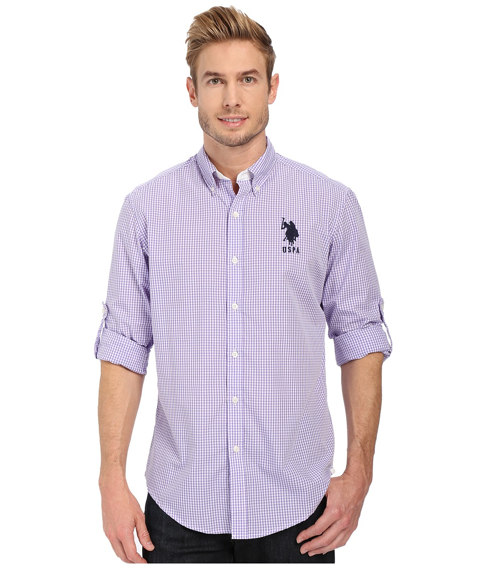 U.S. POLO ASSN. - Long Sleeve Gingham Plaid Sport Shirt (Paisley Purple) Men's Long Sleeve Button Up