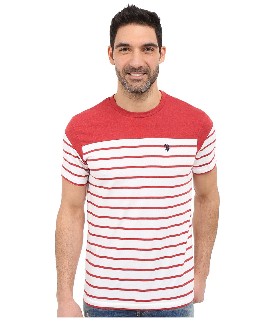 U.S. POLO ASSN. - Solid Stripe V-Neck T-Shirt (Red Heather) Men's Short Sleeve Pullover
