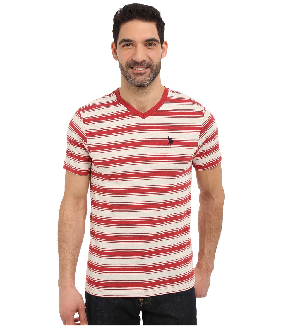 U.S. POLO ASSN. - Short Sleeve Shadow Stripe V-Neck T-Shirt (Red Heather) Men's Short Sleeve Pullover