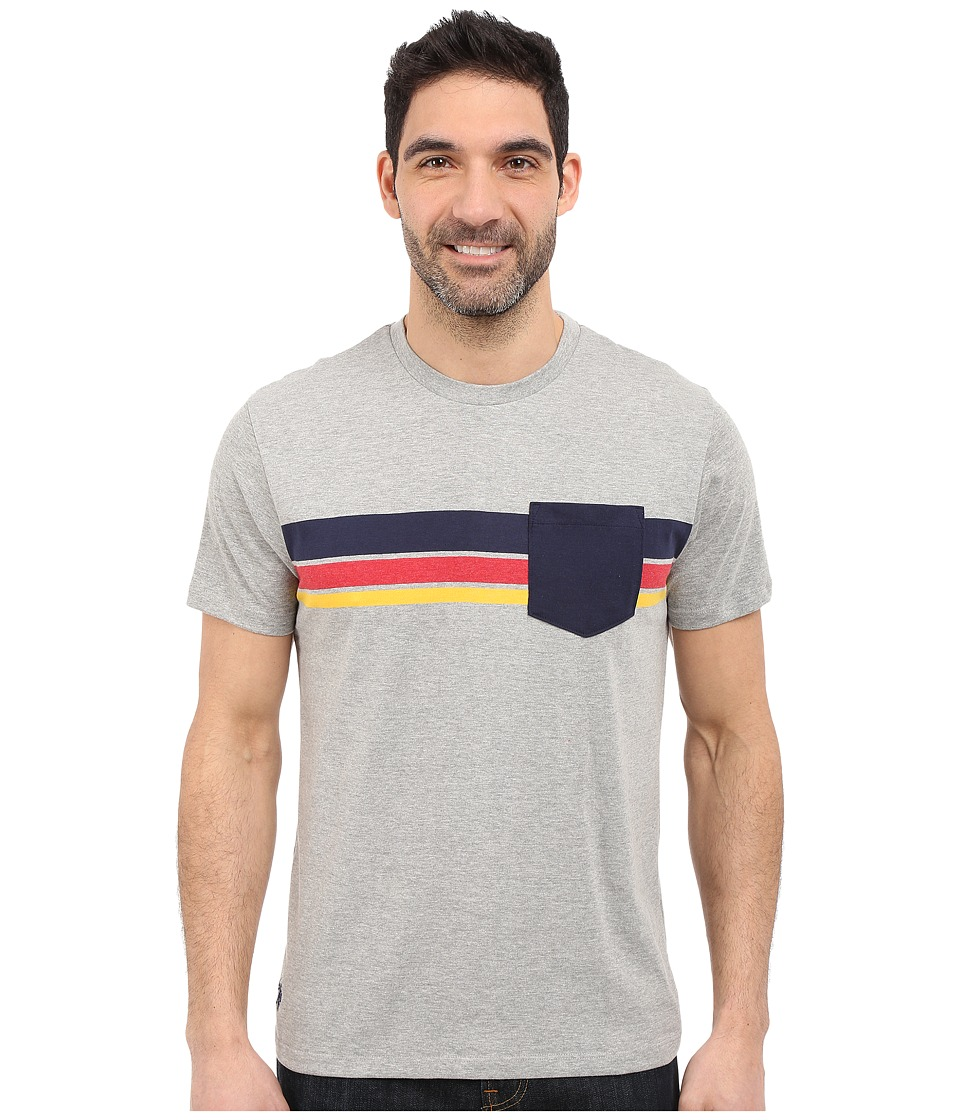 U.S. POLO ASSN. - Chest Stripe Crew Neck Pocket T-Shirt (Heather Grey) Men's Short Sleeve Pullover