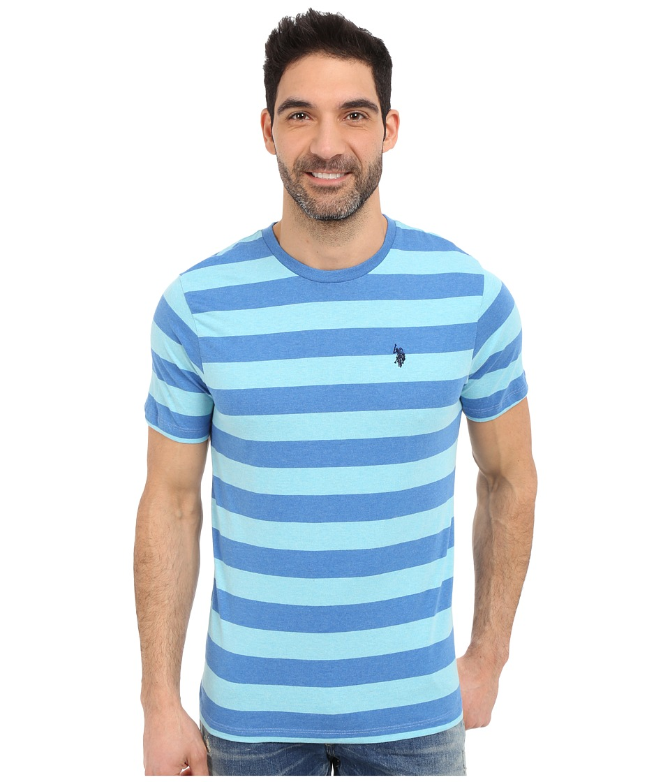 U.S. POLO ASSN. - Stripe Crew Neck T-Shirt (Blue Tile Heather) Men's Short Sleeve Pullover