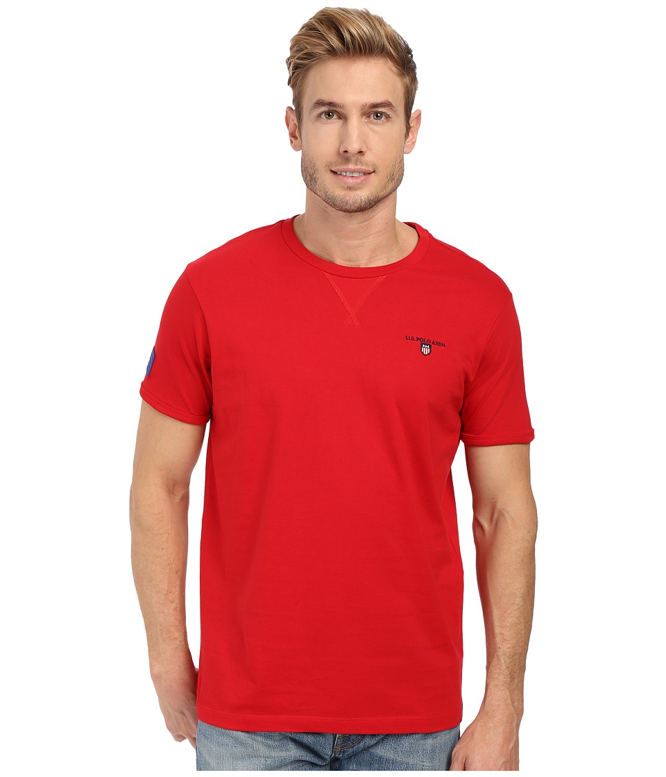 U.S. POLO ASSN. - Solid V-Inset Crew Neck T-Shirt (Winning Red) Men