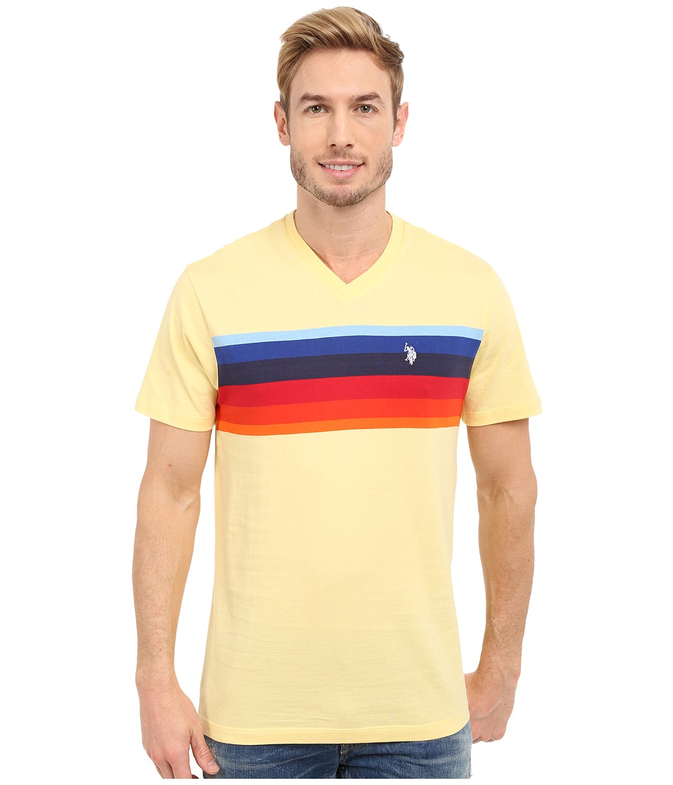 U.S. POLO ASSN. - Chest Stripe V-Neck T-Shirt (Lemon Frost) Men's Short Sleeve Pullover
