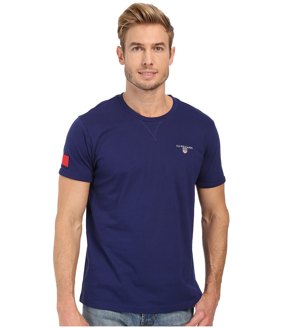 U.S. POLO ASSN. - Solid V-Inset Crew Neck T-Shirt (Marina Blue) Men